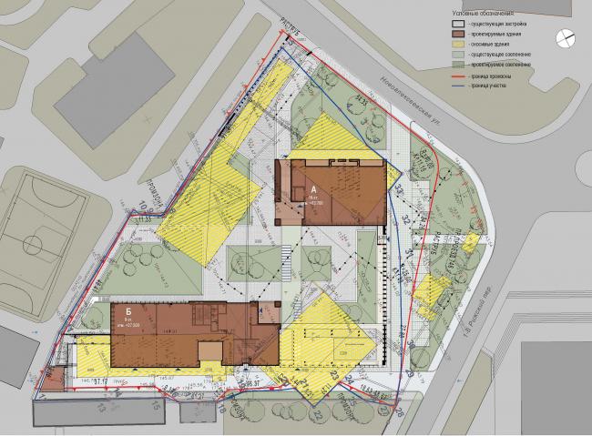 Предпроектное предложение строительства жилого комплекса на Новоалексеевской улице в Москве. Генеральный план © Сергей Скуратов ARCHITECTS
