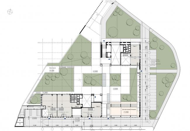 Предпроектное предложение строительства жилого комплекса на Новоалексеевской улице в Москве. План 1 этажа © Сергей Скуратов ARCHITECTS