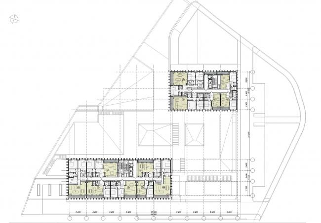 Предпроектное предложение строительства жилого комплекса на Новоалексеевской улице в Москве. План 2 этажа © Сергей Скуратов ARCHITECTS
