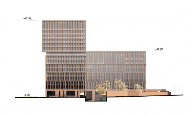 Предпроектное предложение строительства жилого комплекса на Новоалексеевской улице в Москве. Северо-западный фасад © Сергей Скуратов ARCHITECTS