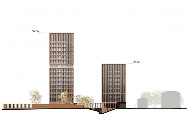Предпроектное предложение строительства жилого комплекса на Новоалексеевской улице в Москве. Юго-восточный фасад © Сергей Скуратов ARCHITECTS