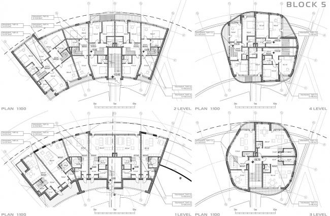 Поэтажный план блокированной части с надстройкой