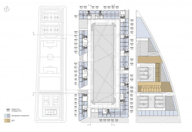 Многофункциональный жилой комплекс «Преображенский форт». План 1 этажа © Сергей Скуратов ARCHITECTS