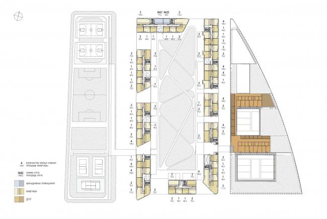 Многофункциональный жилой комплекс «Преображенский форт». План 2 этажа © Сергей Скуратов ARCHITECTS