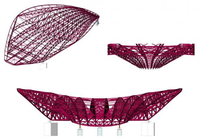 Олимпийский центр водных видов спорта. Схема крыши (состояние после 2012 года) © Zaha Hadid Architects