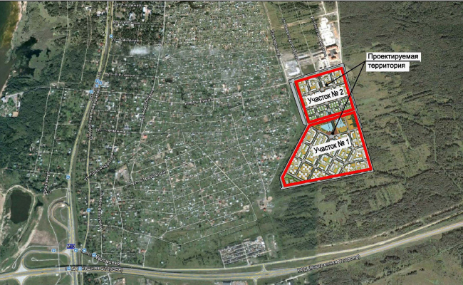 Концепция застройки территории малоэтажного жилого комплекса в Сестрорецке. Ситуационный план © Архитектуриум