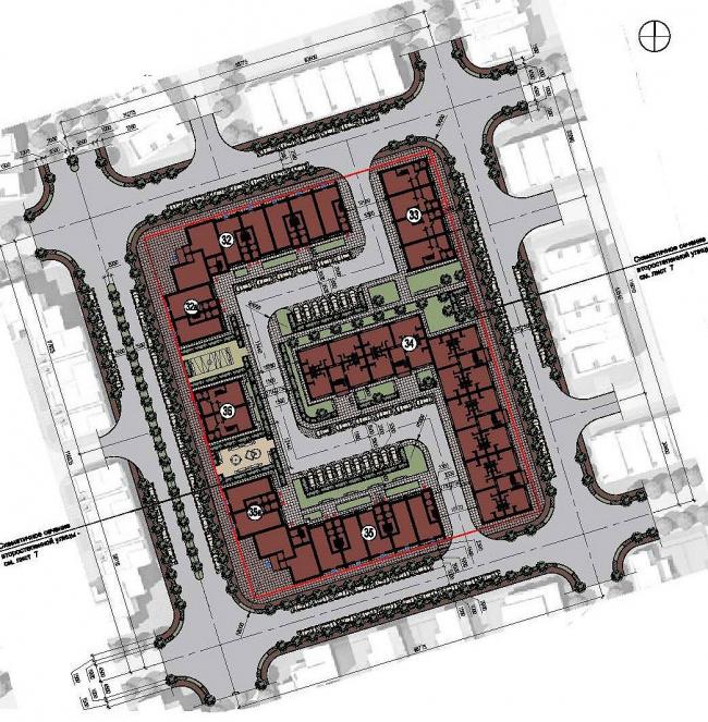 Концепция застройки территории малоэтажного жилого комплекса в Сестрорецке. Генеральный план © Архитектуриум