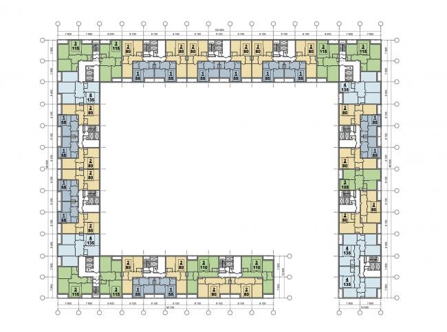 План типового этажа (юг) © ТПО «Резерв», SPEECH