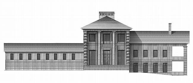Дом №1. Южный фасад, выходящий на главную аллею