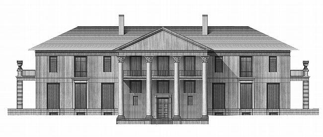 Дом №2. Северный фасад, выходящий на главную аллею