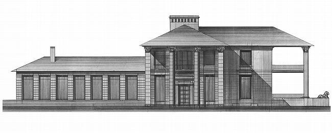 Дом №4. Северный фасад, выходящий на главную аллею