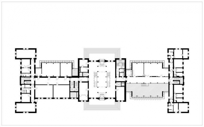 Главный корпус Технического университета Гамбург - Гарбург. План 1-го этажа © gmp