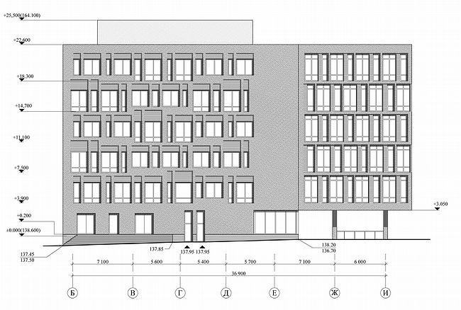 Административно-офисное здание в Гороховском переулке. Фасад, проект, 2006 © ADM architects