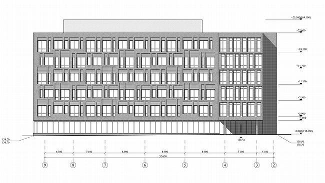 Административно-офисное здание в Гороховском переулке. Фасад. Проект, 2006 © ADM architects