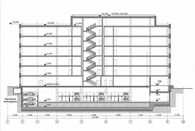 Административно-офисное здание в Гороховском переулке. Разрез. Проект, 2006 © ADM architects