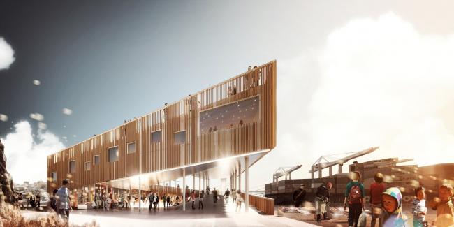 Рынок в гавани Илулиссата. KITAA Arkitekter, David Garcia Studio, Henning Larsen Architects. Предоставлено павильоном Дании