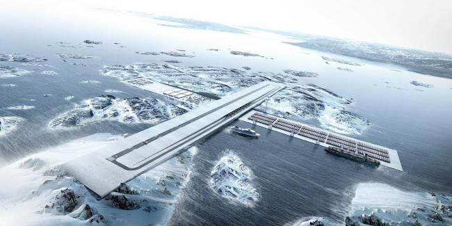 Проект AIR+PORT (аэропорт в порту Нуука). Бюро Tegnestuen Nuuk и BIG. Предоставлено павильоном Дании