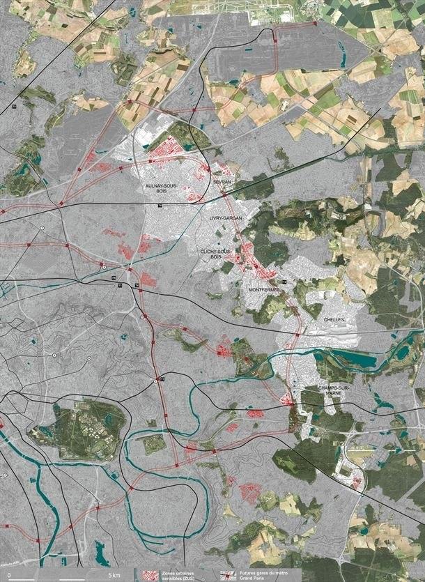 «Восточный  Хребет»: от Ольне-су-Буа до Марн-ла-Валле © Ateliers Lion associés / source IGN