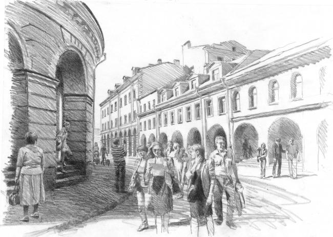 Реконструкция Круглого рынка на наб. р. Мойки, 3 © архитектор-художник В. И. Лемехов (АМ «Студия 44»)