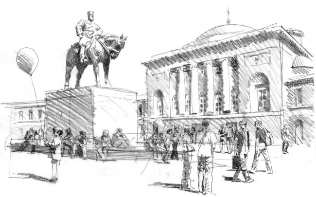 Памятник Александру III © архитектор-художник В. И. Лемехов (АМ «Студия 44»)