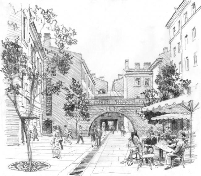 «Сад брандмауэров» - общественное пространство квартала, прилегающего к дворам Капеллы © архитектор-художник В. И. Лемехов (АМ «Студия 44»)