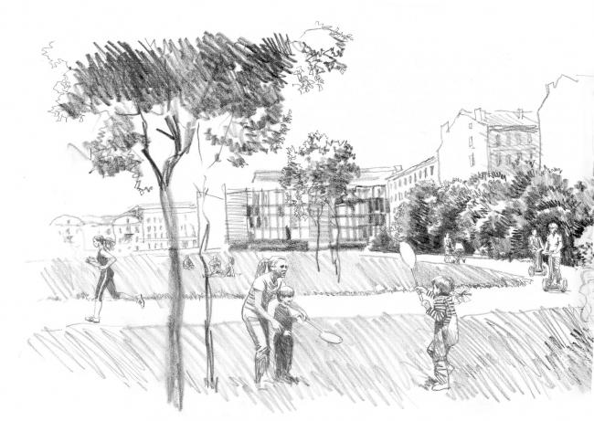 Спортивно-оздоровительный «Лесгафт-Парк» на ул. Декабристов © архитектор-художник В. И. Лемехов (АМ «Студия 44»)