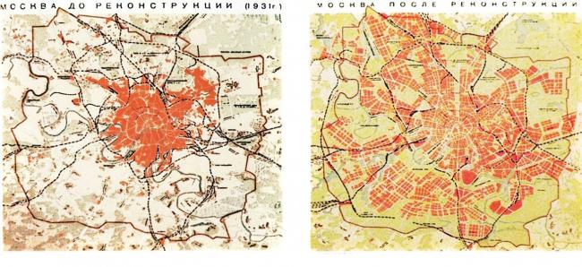 Сравнение знаменитого плана развития Москвы 1935 года с планом, существовавшим в реальности, позволяет понять масштабы урбанизации столицы. Фотография Сергея Хачатурова