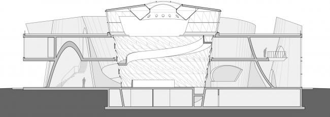 Первый вариант проекта выставочно-делового центра в Сахалине. Разрез.