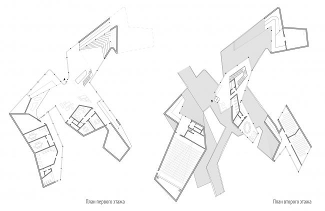 Второй вариант проекта выставочно-делового центра в Сахалине. Планы первого и второго этажей.