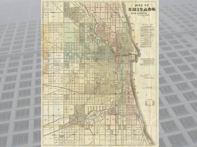 План Чикаго конца XIX века показывает, как снижалась плотность застройки и плотность улично-дорожной сети по мере развития города на периферию.