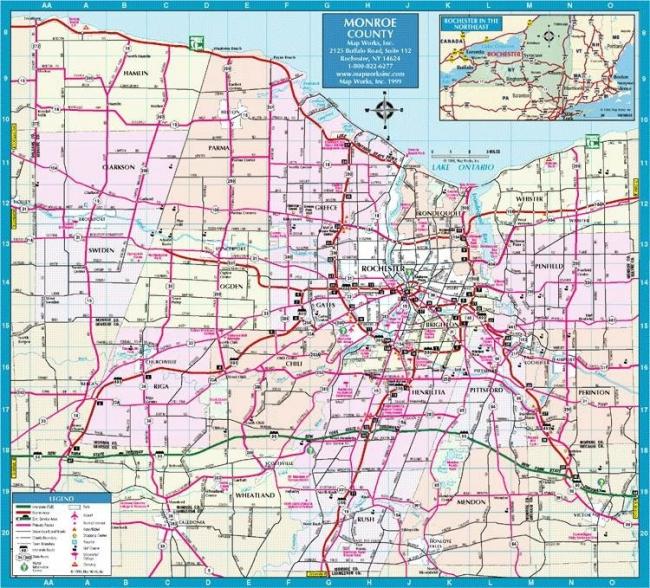 Карта графства Монро на севере штата Нью-Йорк хорошо иллюстрирует структуру типичного американского города. Маленькое колечко в центре – даунтаун города Рочестера, плотно застроенный небоскребами. Вокруг бескрайние поля малоэтажных пригородов с общей сеткой улиц, где городки плавно перетекают один в другой.