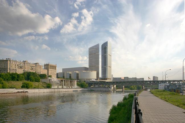 Откорректированный проект корпуса B административно-торгового комплекса по улице Кульнева. Вид со стороны Москвы-реки.