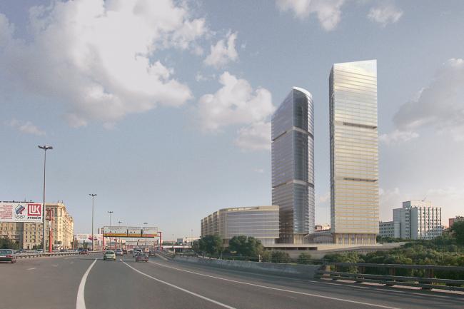 Административно-торговый комплекс на ул. Кульнева. Вид на комплекс со стороны Третьего транспортного кольца