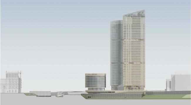 Административно-торговый комплекс на ул. Кульнева. Боковой фасад комплекса со стороны Москвы-реки