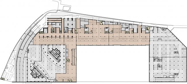 Административно-торговый комплекс на ул. Кульнева. План подземного гаража. -2 этаж
