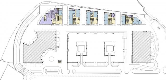 Административно-торговый комплекс на ул. Кульнева. План первого этажа корпуса В
