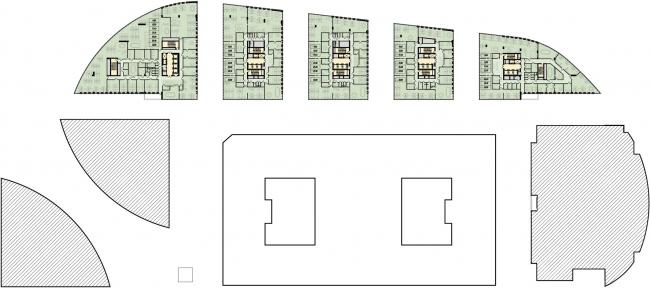 Административно-торговый комплекс на ул. Кульнева. План типового этажа