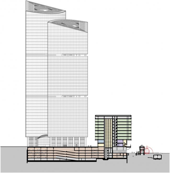 Административно-торговый комплекс на ул. Кульнева. Новый вариант корпуса B. Разрез