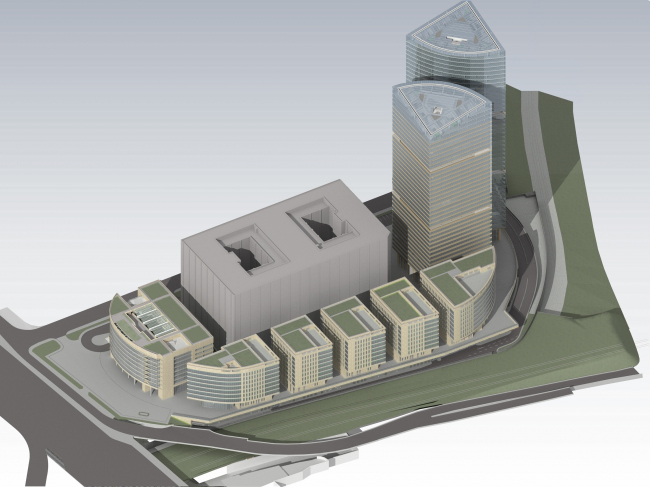 Административно-торговый комплекс на ул. Кульнева. Вид сверху. Вариант 1