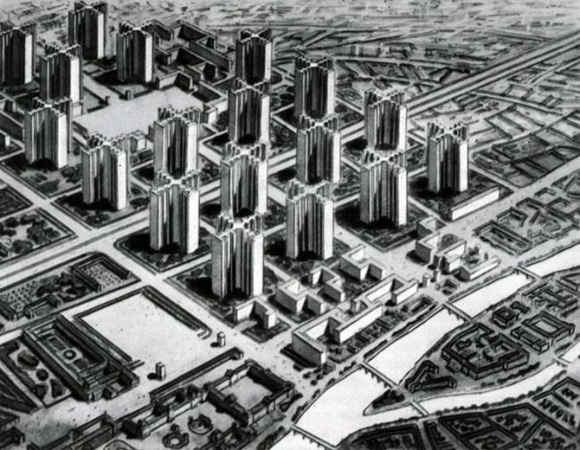 Ле Корбюзье. План Вуазен для Парижа, 1925