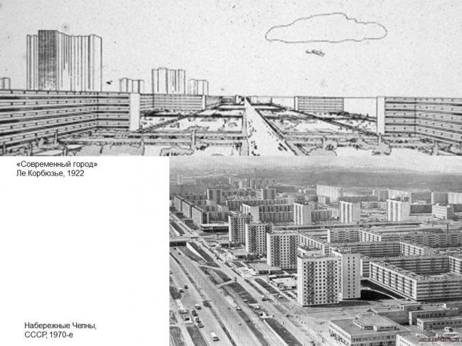 Сопоставление образных рядов «Современного города» Ле Корбюзье (1922) и Набережных Челнов (СССР, 1970-е)