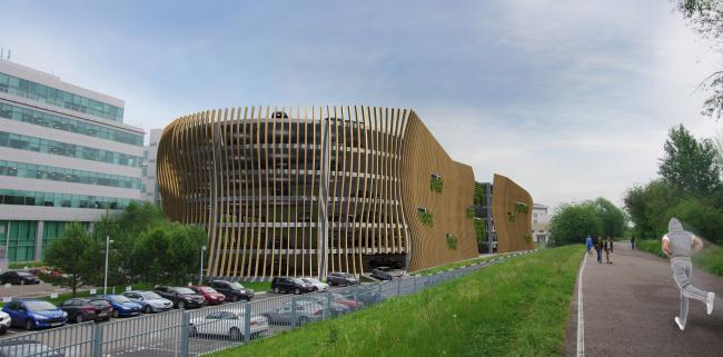 Автостоянка открытого типа в Крылатском. Проект, 2011-2012  © Архитектурная мастерская «Группа АБВ»