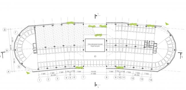 Автостоянка открытого типа в Крылатском. План первого этажа. Проект, 2011-2012 © Архитектурная мастерская «Группа АБВ»