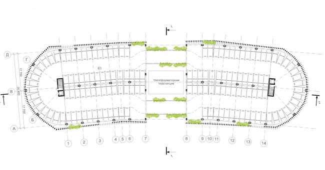 Автостоянка открытого типа в Крылатском. План типового этажа. Проект, 2011-2012 © Архитектурная мастерская «Группа АБВ»