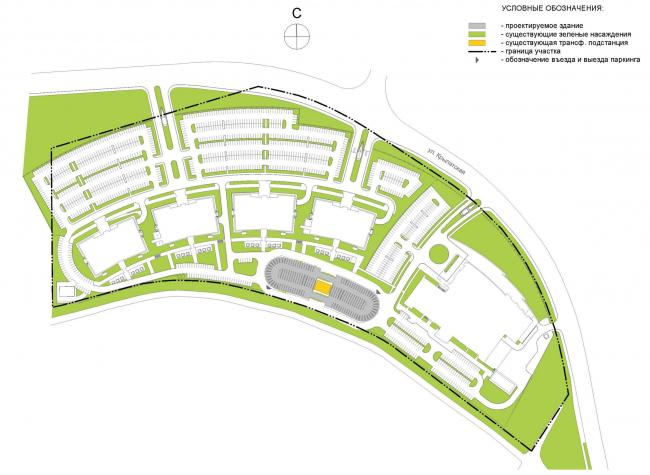 Автостоянка открытого типа в Крылатском. Ситуационный план. Проект, 2011-2012 © Архитектурная мастерская «Группа АБВ»