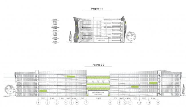 Автостоянка открытого типа в Крылатском. Разрезы. Проект, 2011-2012 © Архитектурная мастерская « Группа АБВ»
