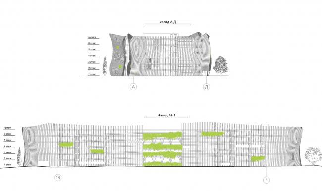 Автостоянка открытого типа в Крылатском. Фасады.Проект, 2011-2012 © Архитектурная мастерская «Группа АБВ»
