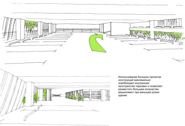 Автостоянка открытого типа в Крылатском. Эскизы.Проект, 2011-2012 © Архитектурная мастерская «Группа АБВ»