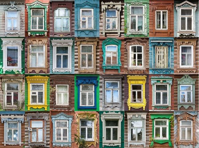 Коллекция деревянных наличников Из Тарусы Калужской области. Фотография с сайта http://nalichniki.com