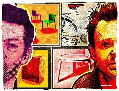Коллаж: Александр Котляров. Слева направо: Джаспер Моррисон; лонгселлер Air chair для Magis; столик The Crate для Established & SonsМайкл Янг; велосипед City Storm для Giant; столик Kog для Established & Sons